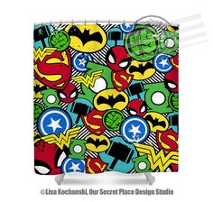 superhero bathroom sets. Superhero Shower Curtain Bathroom Decor Superheroes  by OurSecretPlace Art Prints Set Qty 4 Wash Brush Floss