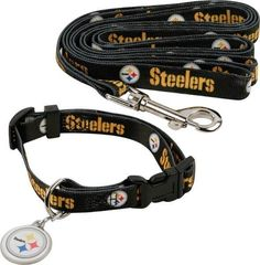 Pittsburgh Steelers 3 pc. Pet Set Leash, Collar and Charm Size Medium #PittsburghSteelers Visit our website for more: www.thesportszoneri.com