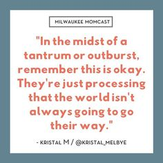 """""""In the midst of a tantrum or outburst, remember this is okay. They're just processing that the world isn't always going to go their way. Mom Cast, Love And Logic, Raise Your Hand, Happy Dance, Infant Activities, Young Children, Raising Kids, Its Okay, Mom And Dad"""