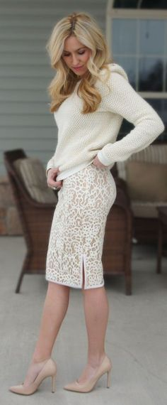 white knit sweater, lace skirt. @roressclothes closet ideas women fashion outfit clothing style