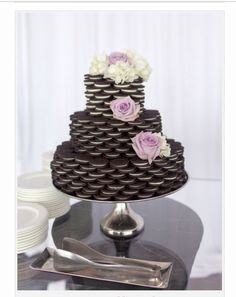 Yum another different cake tower. oreo--grooms cake??