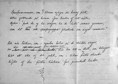 """Rydbergs första manuskript till dikten """"De badande barnen"""", bild 2."""