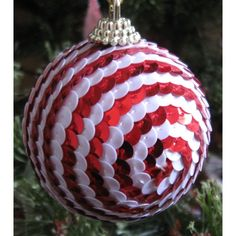New Dept 56 Round Red & White Sequin Ornament Listing in the Ornaments,Decorations,Christmas,Occasions & Seasonal Category on eBid United States   144961192