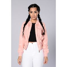 Two Timer Bomber Jacket Pink ($28) ❤ liked on Polyvore featuring outerwear, jackets, blouson jacket, pink bomber jacket, flight jacket, bomber jacket and pink jacket