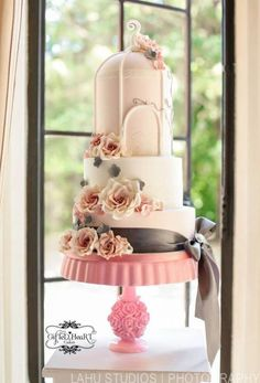 Pale pink Birdcage Wedding Cake  with handmade gumpaste roses  ~ love the cake stand too!