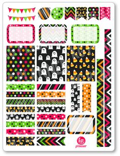 One 6 x 8 sheet of Bright Halloween decorating kit/weekly spread planner stickers cut and ready for use in your Erin Condren life planner, Filofax,