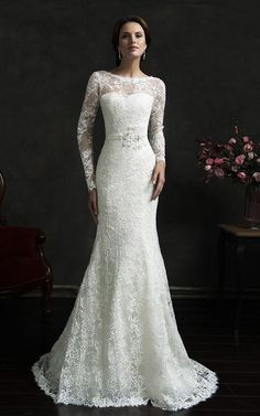 Long Sleeve Illusion Back Mermaid Lace Dress with Court Train-713568