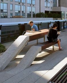 """design dunker on Instagram: """"Love how this furniture at @highlinenyc transitions from floor to seat/ table! The Highline was a design collaboration between…"""" Landscape Model, Landscape Architecture, Landscape Design, Architecture Design, Urban Furniture, Street Furniture, High Line Park, Vertical Garden Design, Concrete Stairs"""