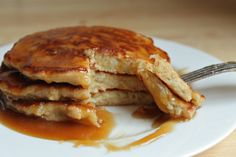 Apple Fritter Pancakes with Caramel Syrup