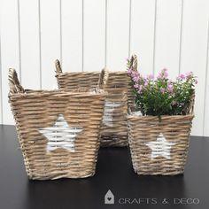 Blumentöpfe - ★ Weidenkorb mit weißem Stern ★ Korb  - ein Designerstück von CraftsandDeco bei DaWanda