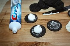 Great April Fool's prank! Replacing the cream filling in a oreo cookie with toothpaste