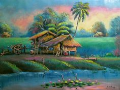 Thailand Oil Painting Trees, Painting & Drawing, Watercolor Paintings, Landscape Pictures, Landscape Art, Landscape Paintings, Art Village, Acrylic Wall Art, Tropical Art