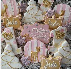 New Ideas Christmas Tree Pink Winter Wonderland First Birthday Winter, First Birthday Cookies, One Year Birthday, Girl Birthday Themes, Baby Girl First Birthday, Christmas Birthday, First Birthday Parties, First Birthdays, Pink Christmas