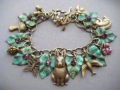 Rabbit Charm Bracelet - Rabbit Bracelet - Rabbit Jewelry - Bunny Bracelet - Easter Jewelry - Bunny Jewelry - Animal Jewelry - Bunnies USD) by SilverTrumpetJewelry Fall Jewelry, Jewelry Crafts, Bracelet Making, Jewelry Making, Silver Trumpet, Vintage Jewelry, Unique Jewelry, Schmuck Design, Amethyst Crystal