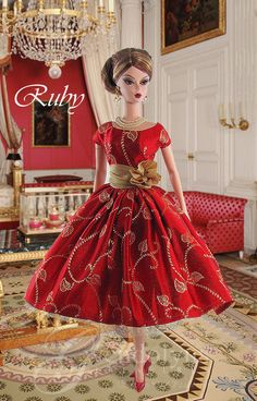 """Ruby"" for Silkstone Barbie by Gwendolyn's Treasures Chic Chic, Vintage Barbie Clothes, Doll Clothes, Fashion Royalty Dolls, Fashion Dolls, Barbie Wardrobe, Moda Retro, Christmas Barbie, Beautiful Barbie Dolls"