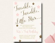 Twinkle Twinkle Little Star Birthday Invitation Blush Gold Glitter by DesignOnPaper on Etsy https://www.etsy.com/listing/207303678/twinkle-twinkle-little-star-birthday