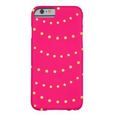 Faux gold pink girly polka dots classic design barely there iPhone 6 case