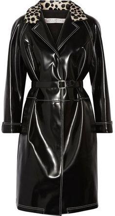 Philosophy di Lorenzo Serafini Printed Calf Hair-trimmed Faux Patent-leather Coat - Black