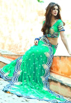 Green Net Saree with Blouse: SLSGJ2