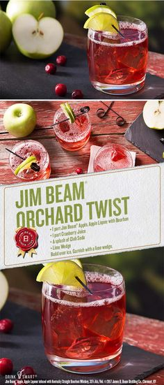 Like Jim Beam® Apple? Try adding a dash of cranberry juice and garnish with lime for a new twist. Jim Beam® Apple, Apple Liqueur infused with Kentucky Straight Bourbon Whiskey, 35% Alc./Vol. ©2017 James B. Beam Distilling Co., Clermont, KY