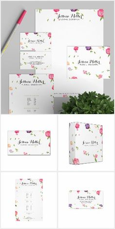 Watercolor Floral Brand Suite - Everything you need to get your business or personal brand up and running. Personalize today on business cards, stationery, labels, binders, office supplies and more. A perfect design for crafters, floral designers, florists, makeup artists, stylists, etc.