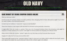 http://oldnavycoupons.co/save-money-by-using-coupon-codes-online/ - promo codes for old navy Come have a look at our website if you want to save at Old Navy. https://www.facebook.com/bestfiver/posts/1433340783545559