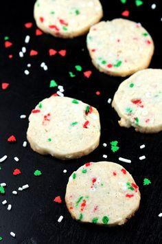 Eggnog Shortbread Sprinkle Cookies