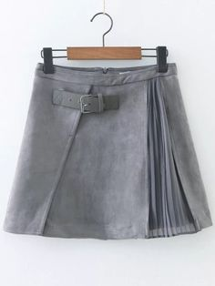 Grey Pleated A Line Suede Skirt With Buckle