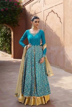 Blue designer party wear dress with dupatta - Desi Royale - 1