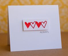 What a striking card by Linda Barber. So clean and so perfect. Hearts and words are from the Hearts stamp set (http://www.techniquetuesday.com/Ali-Edwards-Designs/Heart.html).