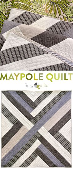 The Maypole Quilt Pattern: A Simple Design with Bold Impact Linen, Chambray, Woven Cotton and Poplin all make up this beautiful neutral color palette. The Maypole quilt design is modern, bold and looks vastly different depending on your fabric choice. Stripe Quilt Pattern, Striped Quilt, Modern Quilt Patterns, Quilt Patterns Free, Baby Knitting Patterns, Simple Quilt Pattern, Sewing Patterns, Loom Patterns, Modern Quilting Designs
