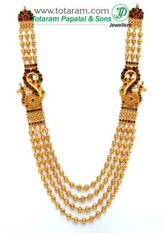 Totaram Jewelers: Buy 22 karat Gold jewelry & Diamond jewellery from India: 22K Gold 'Peacock' Long Necklace - 4 Lines(Temple Jewellery)