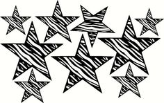 Zebra Print Star Wall Sticker Die-cut Vinyl Decal Teen Room Decor Large 9pc