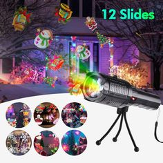 Owfeel LED Projector Flashlight Christmas Portable Flashlight with 12 Pattern Slides and Tripod USB charging, Handheld Projector for Halloween Christmas Easter Birthday Party Holiday Decoration Baby Night Light Projector, Christmas Light Projector, Best Christmas Lights, Led Projector, Starry Night Light, Led Night Light, Easter Birthday Party, Galaxy Lights, Halloween Christmas