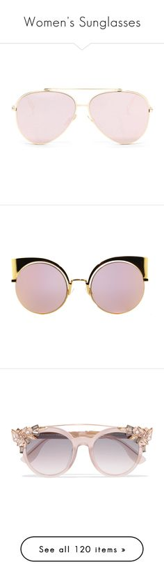 """Women's Sunglasses"" by tina-teena ❤ liked on Polyvore featuring accessories, eyewear, sunglasses, glasses, aviator style sunglasses, aviator sunglasses, óculos, gold, metal glasses and fendi eyewear"