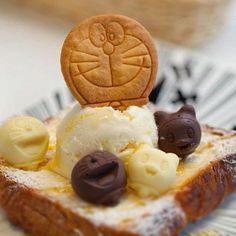 Ice cream + Bologne bread= good (^-^) + Doraemon cookie and chocolate = Prefect! \(^o^)/ - @doraemon100- #webstagram