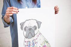 Toalla de té de Perro Pug regalo de cumpleaños de pug regalo