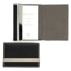 What do you get the gentleman who has everything? Well, something engraved of course! Our Engraved Black Business Card Holder is made of vegan leather, and beautifully top stitched with accents in sil