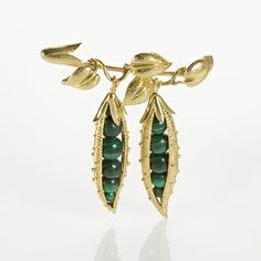 Mid Century Gold and Malachite Sweet Pea Brooch by Jean Schlumberger for Tiffany & Co