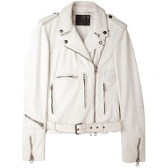 Pre-owned R13 Nwt Distressed Genuine Leather White Leather Jacket (675 CAD) ❤ liked on Polyvore featuring outerwear, jackets, coats, coats & jackets, leather jacket, white, leather belt, white moto jacket, leather motorcycle jacket and slim fit leather jacket