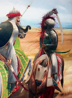 Mughal person Behlol Khan getting parted with a single stroke of King Maharana Pratap's sword during the Mughal conquest of India Freedom Fighters Of India, Shivaji Maharaj Hd Wallpaper, Great Warriors, Mughal Empire, Durga Goddess, Indian Art, Sculpture Art, Mahakal Shiva, Krishna