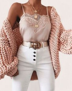 Bubble knit cardigan outfit idea for fall! Casual outfit with a cardigan, lace c. - Bubble knit cardigan outfit idea for fall! Casual outfit with a cardigan, lace cami, and white high - Cute Fall Outfits, Winter Fashion Outfits, Cute Fashion, Look Fashion, Stylish Outfits, Spring Outfits, Womens Fashion, Gucci Outfits, Fashion Ideas