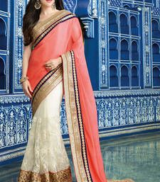 Buy peach embroidered satin saree with blouse bollywood-saree online