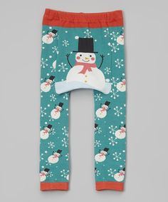 Another great find on #zulily! Green & Red Snowman Leggings - Infant by Doodle Pants #zulilyfinds