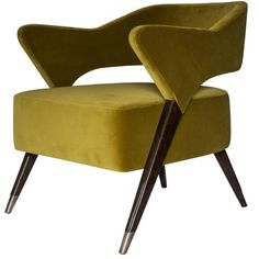 """Exclusive, 1950s Style """"Monique"""" Armchair   From a unique collection of antique and modern armchairs at https://mario.1stdibs.com/furniture/seating/armchairs/"""