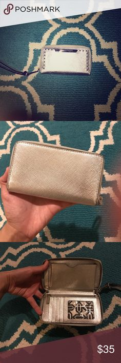 Rebecca Minkoff Wristlet Super cute wristlet, perfect for a night out or festive occasion, or just as a wallet! Fits iPhone 7 and smaller. Rebecca Minkoff Bags Clutches & Wristlets