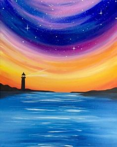 pencil drawings - Search our event calendar and find a Paint Nite event near Portland, OR Sunset Painting Easy, Sailboat Painting, Easy Canvas Painting, Simple Acrylic Paintings, Easy Paintings, Canvas Art, Watercolor Landscape, Landscape Paintings, Lighthouse Drawing
