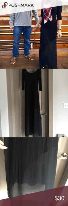 """Beautiful black maxi dress This is a neat twist on a maxi dress as the bottom is sheer.  This is s size small.  As you can see it touches the floor and I am 5'8"""".  Unfortunately I can't wear it with heels or it will be too short. Gianni Bini Dresses Maxi"""