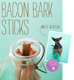"Treat your pooch by making your own bacon bark sticks! No more worries about ""treats"" that make your dog sick. Bacon Dog Treats, Puppy Treats, Diy Dog Treats, Homemade Dog Treats, Dog Treat Recipes, Dog Food Recipes, Homemade Gifts, The Best, Your Pet"