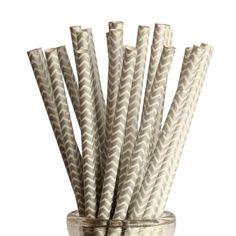 25 Silver Chevron Paper Straws
